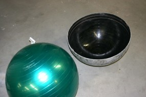 Fiberglass Dome Mold Made Using Exercise Ball Inflated to Correct Size - Ridges Easily Sanded Off Final Casting