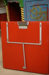 Locking Mechanism on Back Side of Lower Front Panel - Card Ejection Funnel is at the Top