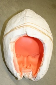 Silicone Head Mold With Supporting Plaster Mother Mold