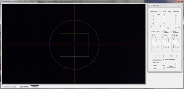Camera Plugin by K. Dietz has Crosshairs, a Circle, and a Rectangle to Assist With Alignment